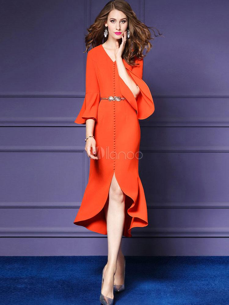 Vestido de fiesta de Acetato con cuello en V Color liso con fajacon ...
