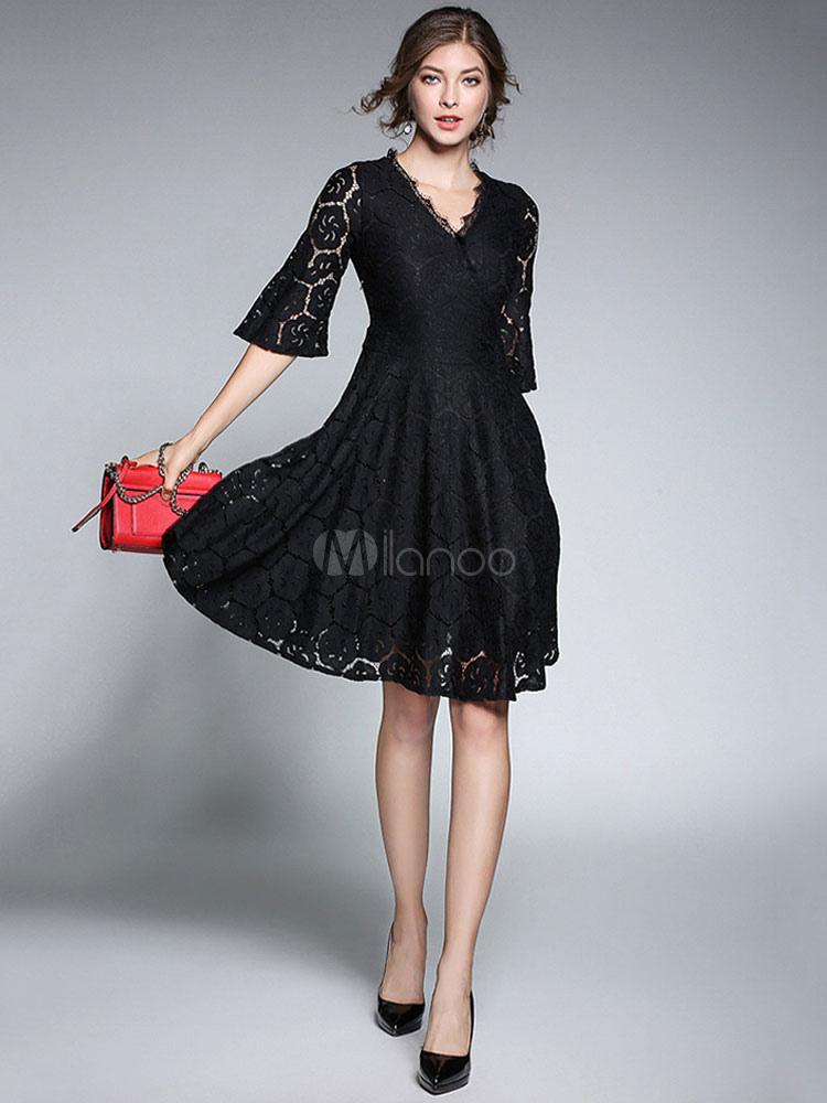 Buy Black Lace Dress V Neck Bell Sleeve Pleated Skater Dresses For Women for $42.74 in Milanoo store