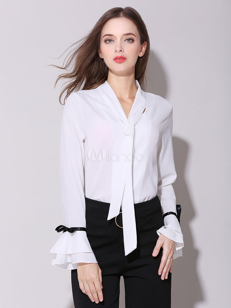 Buy Chiffon White Blouse Embellished Collar Long Sleeve Knotted Layered Ruffles Women's Casual T Shirt for $28.49 in Milanoo store