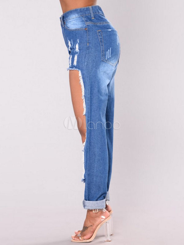 Blue Denim Jeans Cut Out Loose Ripped Jeans For Women ...