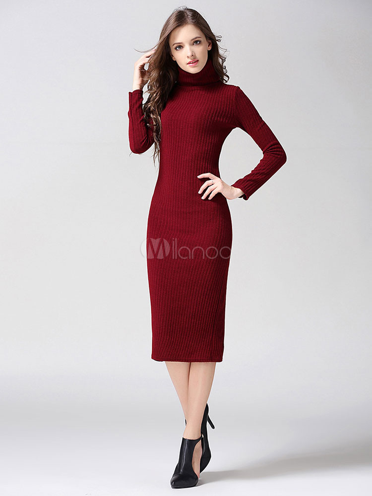 0b40dd4863b7 Burgundy Knitted Dress Turtleneck Long Sleeve Slit Shaping Women s Midi  Bodycon ...