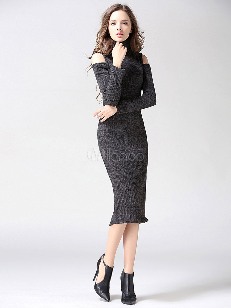 Knit Sweater Dress High Collar Long Sleeve Deep Grey Cut Out Bodycon Dresses For Women