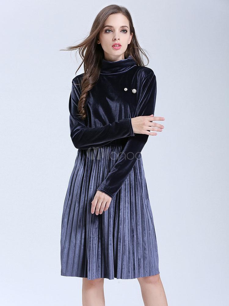 Buy Blue Skater Dress High Collar Long Sleeve Pleated Velour Women's Dresses for $31.49 in Milanoo store