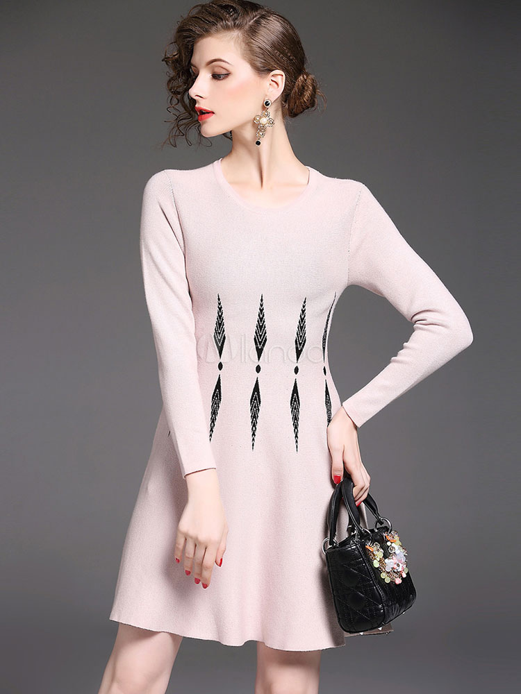 Buy Pink Skater Dress Round Neck Long Sleeve Geometric Print Women's Knit Dresses for $37.99 in Milanoo store