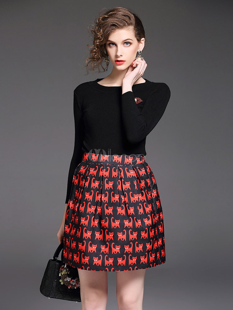 Buy Black Skirt Set Round Neck Long Sleeve Beaded Top With Pleated Cat Print Short Skirt For Women for $33.24 in Milanoo store