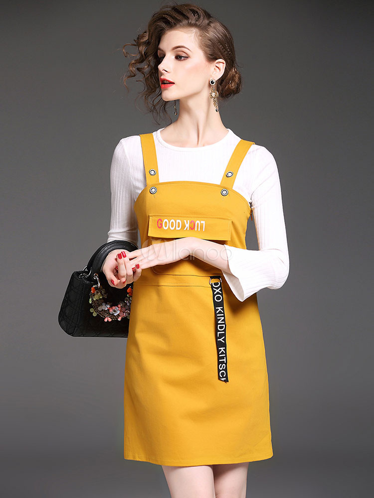 Yellow Skirt Set 3 Piece Women's Round Neck Bell Sleeve Top With Letters Print Short Jumper Skirt