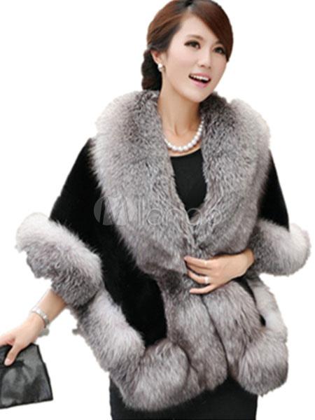 buy online 7e1fd 8f43c Cappotto di pelliccia ecologica grigio mezze maniche bicolore casuale