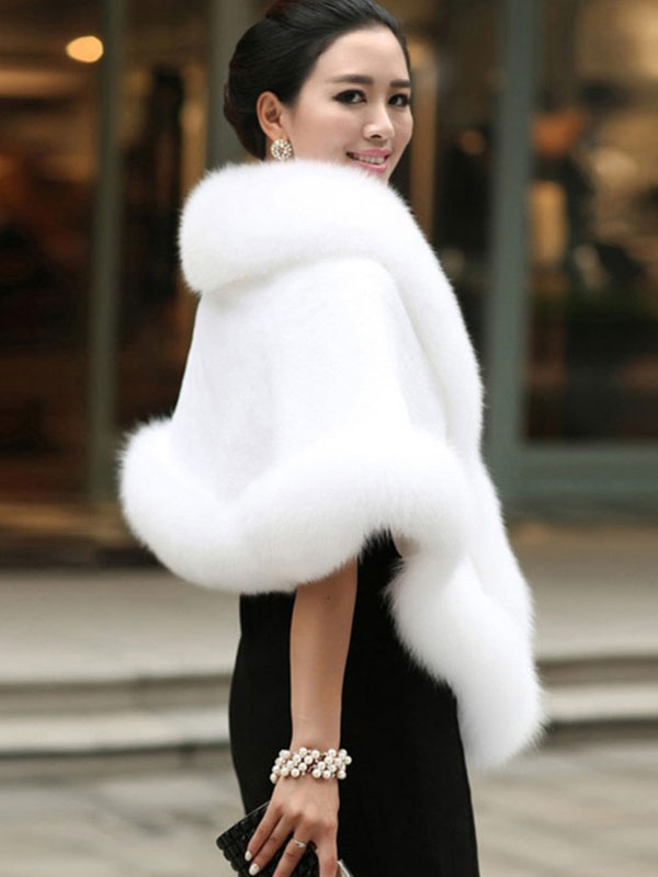 32ccad4a915a ... Faux Fur Jacket Women White Winter Wrap Shawl Poncho Cape Coat-No. ...