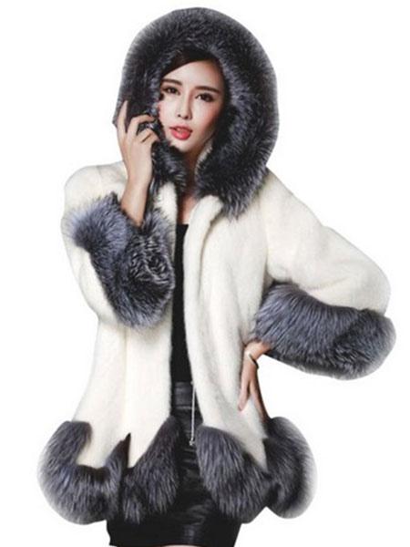 89af6f14927 Manteau femme en laine artificielle hiver à capuche manches longues mode en  fausse fourrure pour plein ...