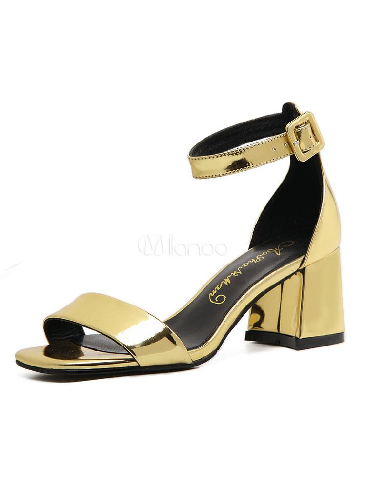 Sandalias de puntera abierta Color liso para pasar por la noche de tacón  gordo estilo moderno ... 000dfbcd7456