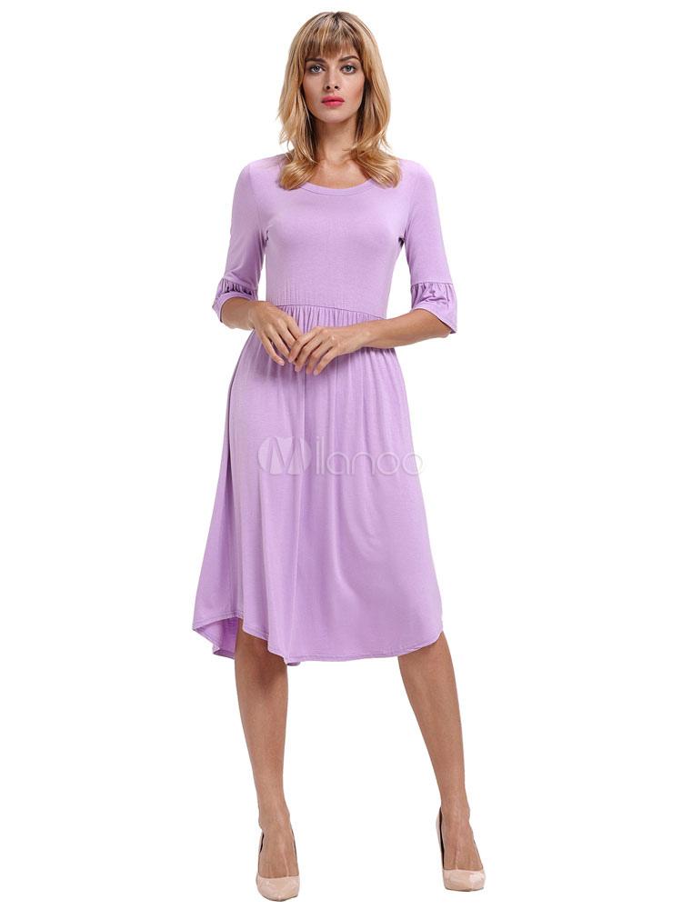 Buy Purple Skater Dress Round Neck Bell Sleeve Pleated Dresses For Women for $26.99 in Milanoo store