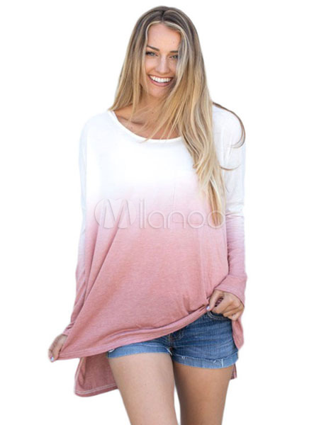 Pink T Shirt Long Sleeve Round Neck Ombre Split Comfy Top For Women