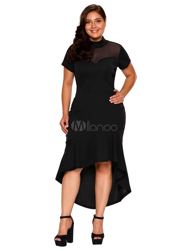 Plus Size Kleid Schwarz High Collar Kurzarm High Low Ruffles ...