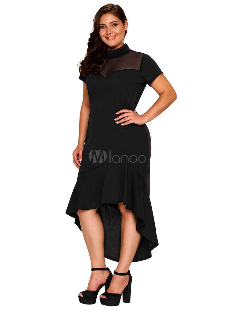 1c7569691d Plus Size Dress Black High Collar Short Sleeve High Low Ruffles Mermaid  Sexy Dresses For Women