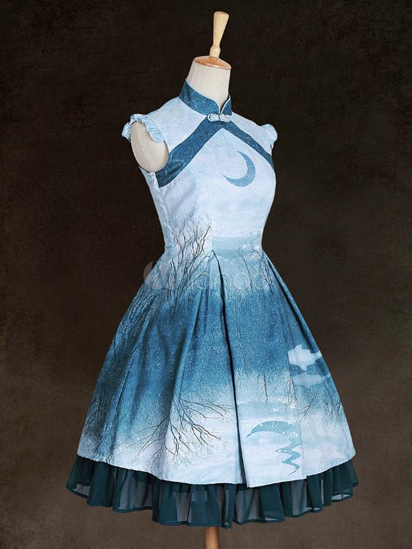 Buy Chinese Style Lolita Dress JSK Ruffles Print Blue Qi Lolita Jumper Skirt for $206.99 in Milanoo store
