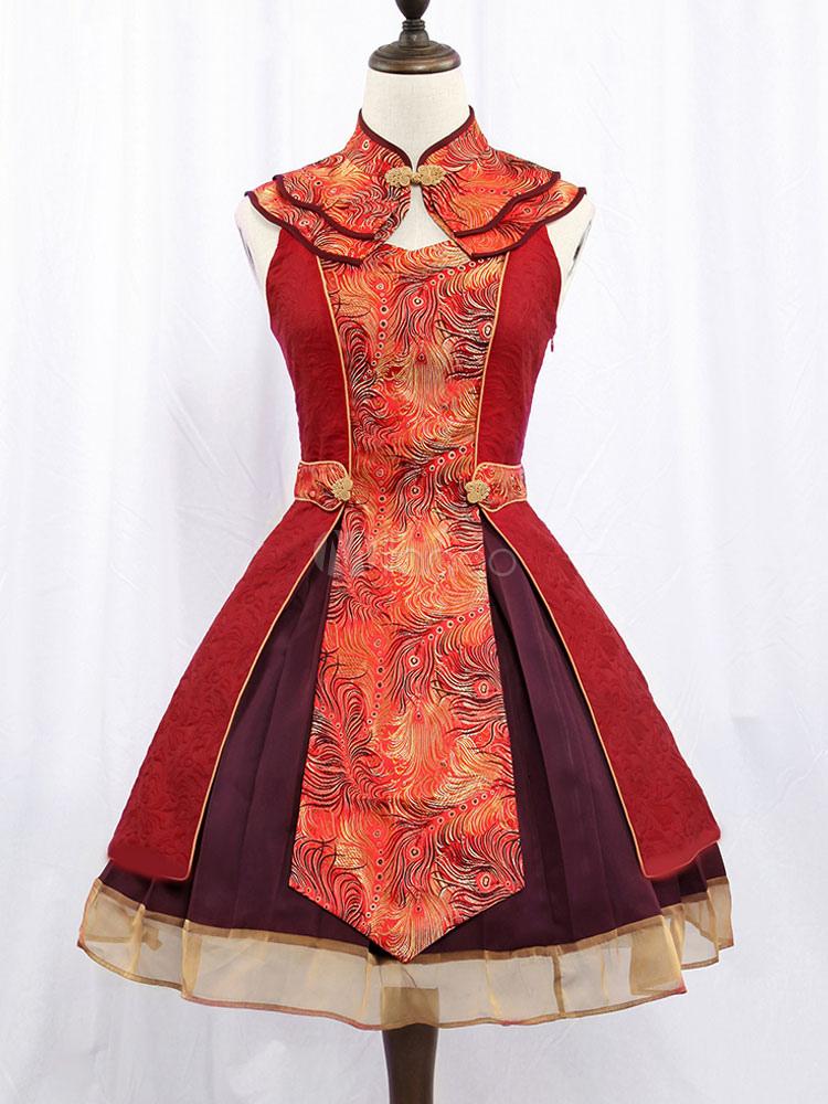 Chinese Style Lolita Dress Jsk Jacquard Two Tone Layered