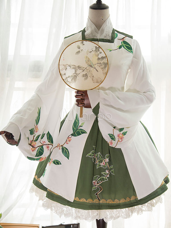 Chinese Style Lolita Set Chiffon Embroidered Two Tone Top With Pleated Skirt And Waistcoat