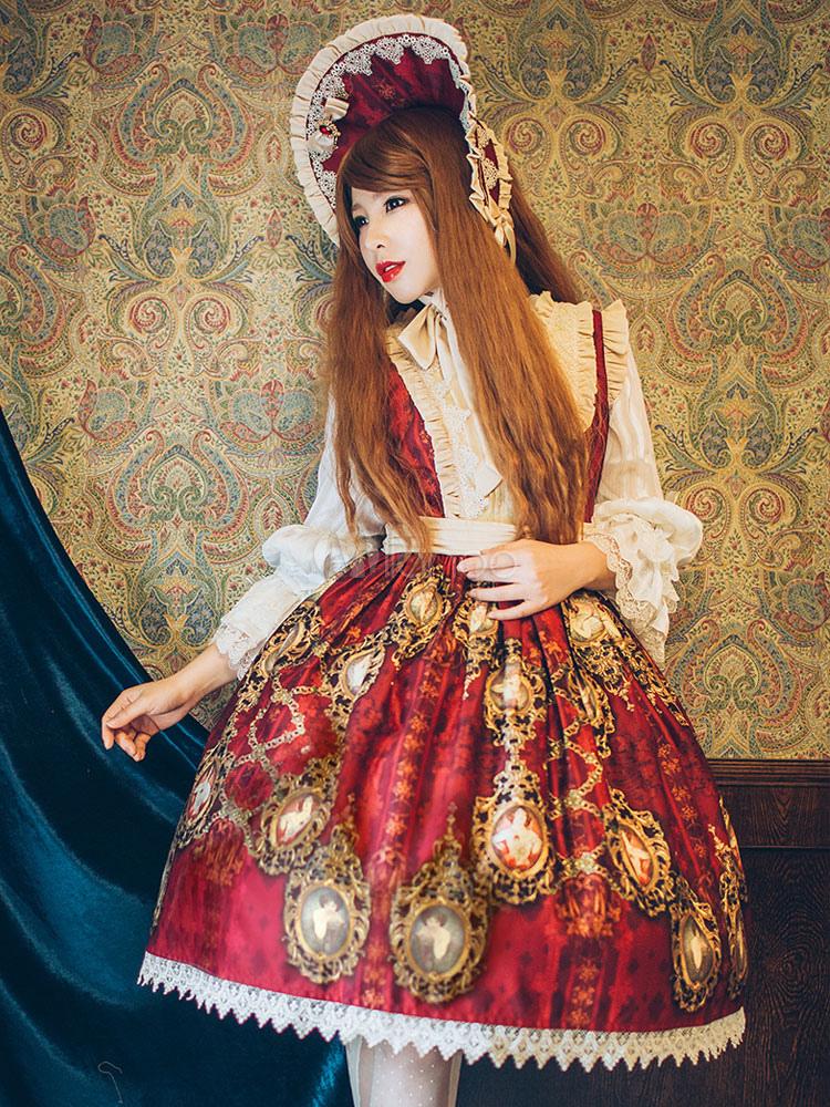 Buy Classic Lolita Dress Alfonso's Gems Hymn JSK Poplin Bow Ruffles Pleated Burgundy Lolita Jumper Skirt for $175.49 in Milanoo store