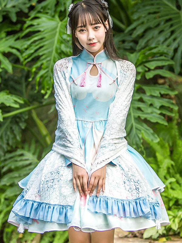 Buy Qi Lolita Dress OP Chiffon Tassel Cut Out Ruffles Print Chinese Style Blue Lolita One Piece Dress for $119.99 in Milanoo store