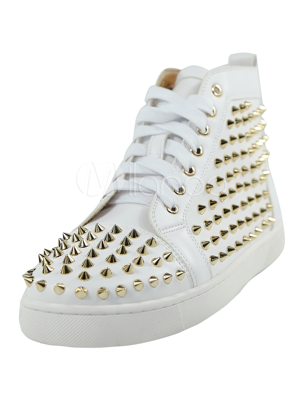 Buy White Skate Shoes Men's Round Toe Lace Up Rivets High Top Sneakers for $94.49 in Milanoo store