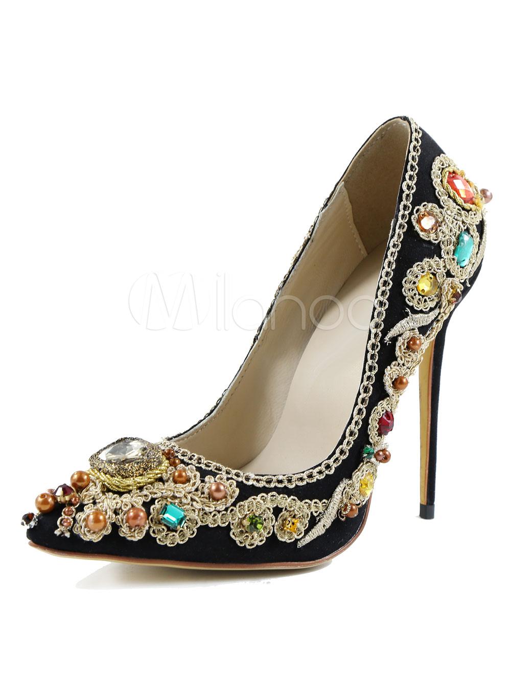 ... Scarpe con tacchi alti nere pelle artistico strass tacco a fino 12cm a punta  donna -. 1. -30%. colore Nero c34e1e0d192