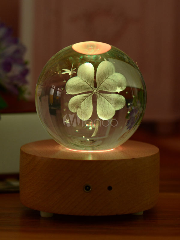 Valentines Gift 2018 Personalized Lucky Clover Crystal Light Effects Changing Bluetooth Musical Lamp