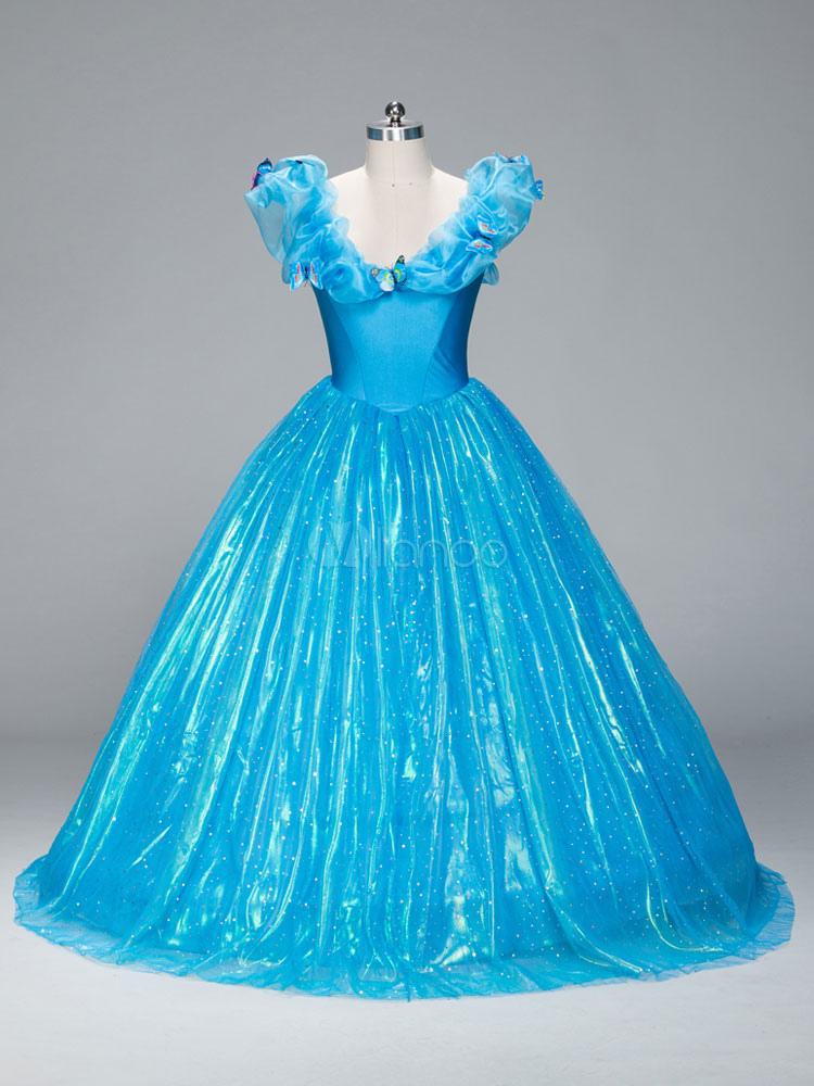 Buy Halloween Women's Costume Christmas Blue Cinderella Ruffles Organza Long Party Dress Halloween for $123.99 in Milanoo store