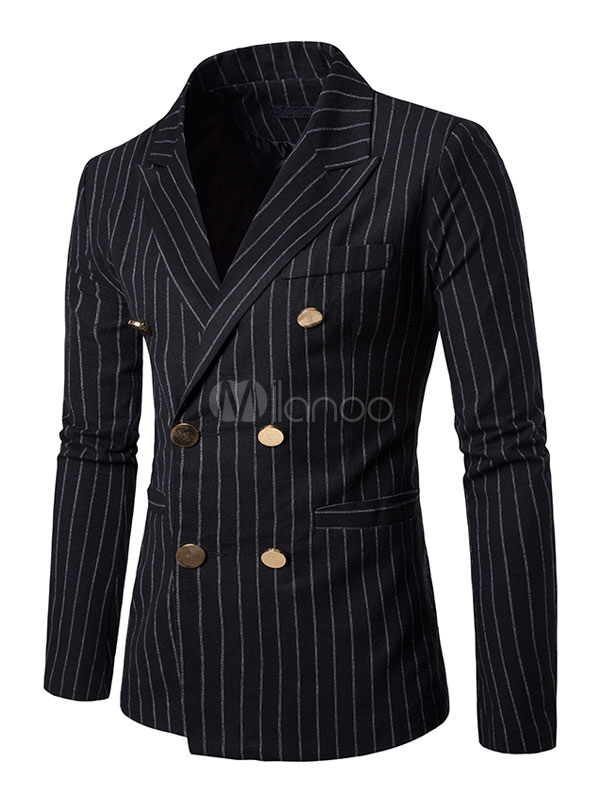 Buy Black Suit Jackets Striped Turndown Collar Long Sleeve Regular Fit Blazer For Men for $42.74 in Milanoo store