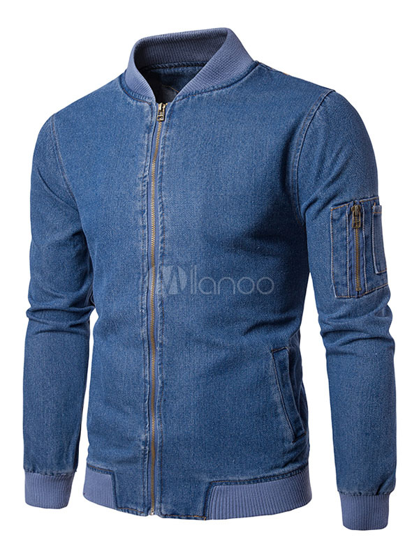 Blue Denim Jackets Stand Collar Long Sleeve Regular Fit Bomber Jacket For Men
