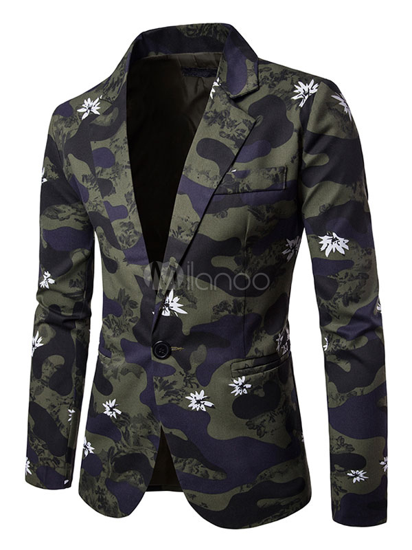 Buy Men's Suit Jackets Hunter Green Camo Printed Regular Fit Suits With Pockets for $42.74 in Milanoo store