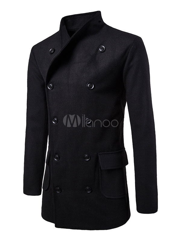Black Trench Coat Turndown Collar Long Sleeve Double Breasted Regular Fit Coat
