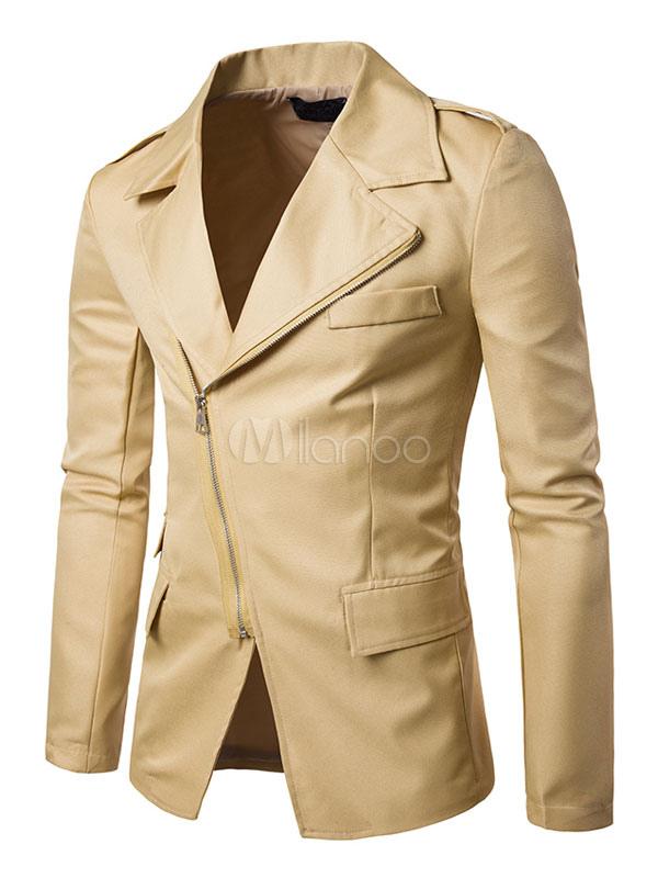 Buy Khaki Short Jacket Long Sleeve Turndown Collar Zip Up Regular Fit Jackets for $43.19 in Milanoo store