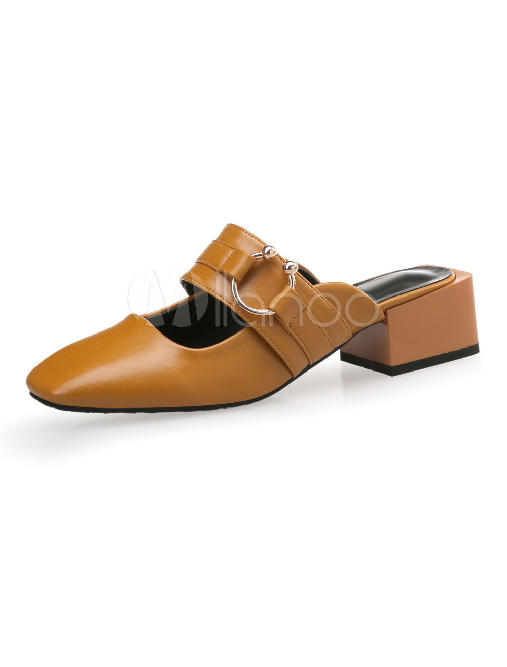 Buy Brown Mule Loafers Square Toe Metal Detail Backless Mules For Women for $27.99 in Milanoo store
