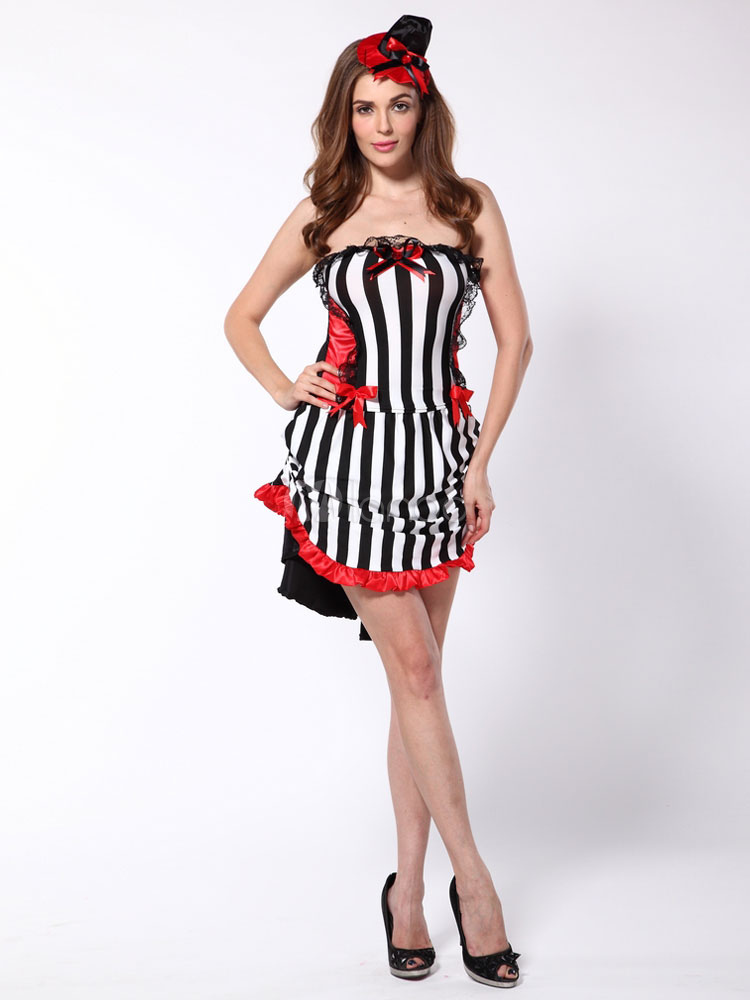 Buy Women's Halloween Costume Black Demon Color Block Striped Mini Skirt With Top And Hat Halloween for $22.99 in Milanoo store
