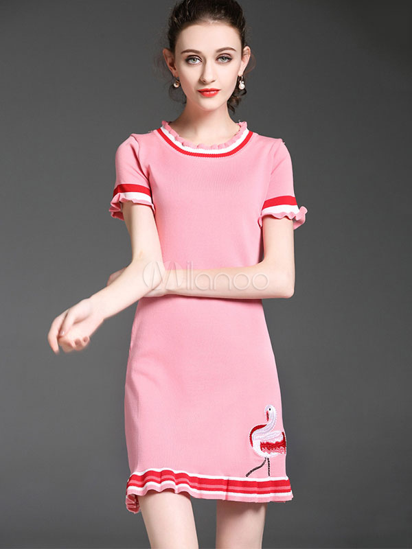 Buy Pink Bodycon Dress Embroidered Frill Short Sleeve Women's T Shirt Dress for $17.99 in Milanoo store