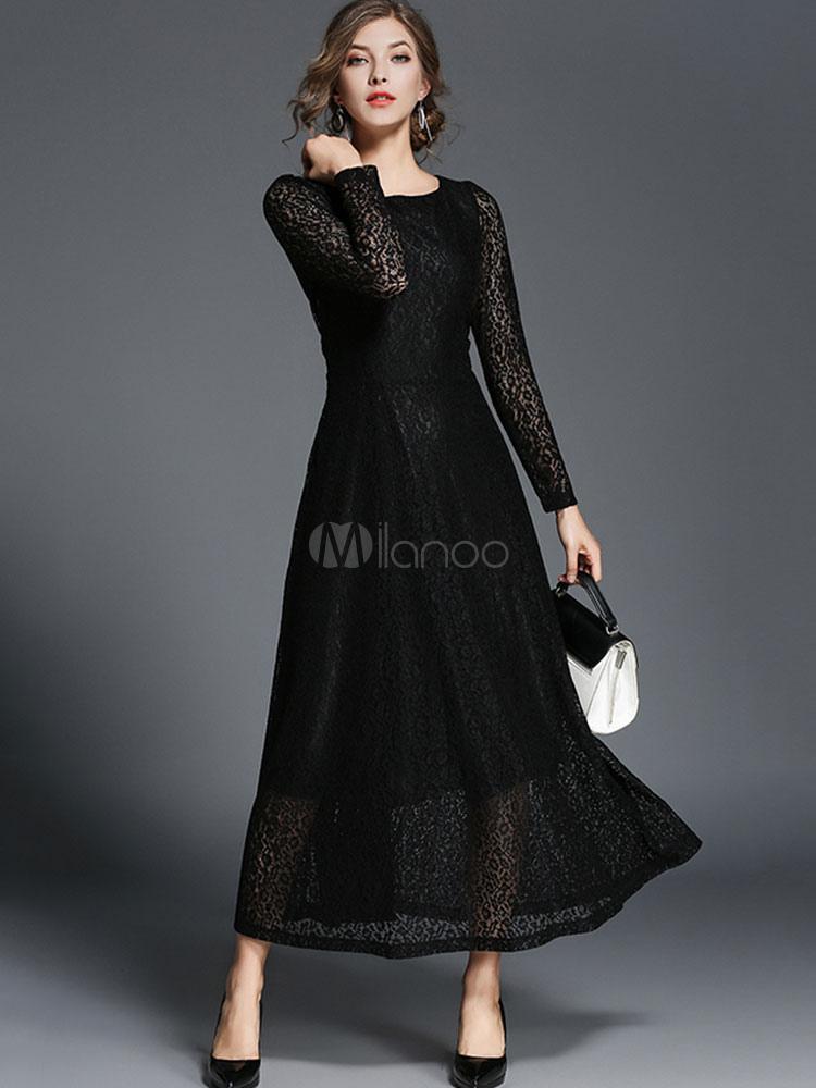 4d69fb907 Negro vestido de encaje cuello redondo manga larga vestidos largos para las  mujeres-No.