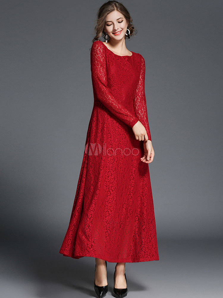5a57a30e1194f Negro vestido de encaje cuello redondo manga larga vestidos largos para las  mujeres-No.