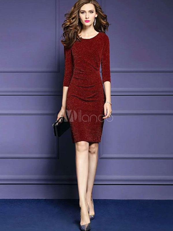 Buy Burgundy Bodycon Dress Round Neck 3/4 Length Sleeve Sheath Dresses For Women for $26.99 in Milanoo store