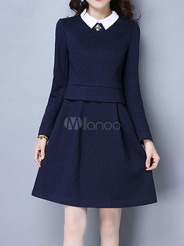 Buy Women's Skater Dress Long Sleeve Two Tone Dark Navy Turndown Collar A Line Short Dresses for $37.99 in Milanoo store