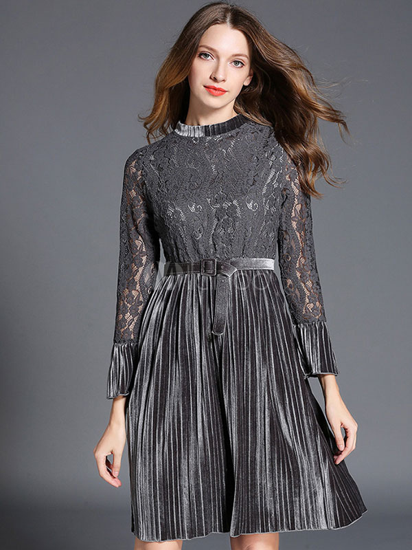 Buy Lace Skater Dress Velour Semi Sheer 3/4 Length Sleeve Pleated Women's Grey Flare Dress With Belt for $35.99 in Milanoo store