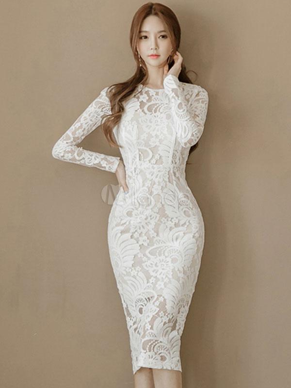 Lace Bodycon Dress Round Neck Long Sleeve Shaping White Midi Sheath Dress