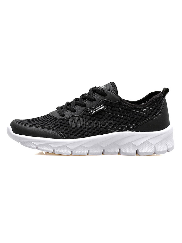 Buy Black Casual Sneakers Men's Round Toe Color Block Lace Up Mesh Running Shoes for $32.19 in Milanoo store