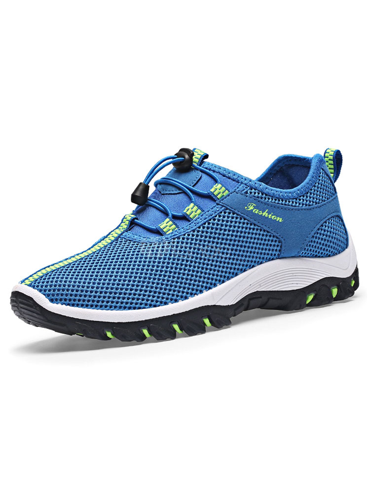 Buy Blue Casual Sneakers Men's Round Toe Color Block Mesh Hiking Shoes for $32.19 in Milanoo store