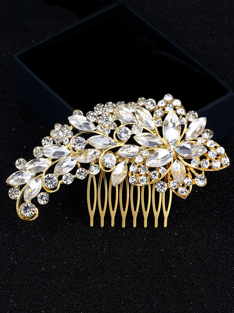 Buy Gold Wedding Comb Headpieces Rhinestones Beaded Bridal Hair Accessories for $10.79 in Milanoo store