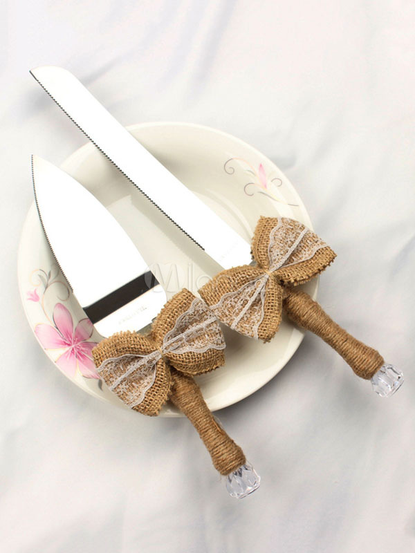 Buy Wedding Cake Knife Bows Decor Silver Cake Serving Set for $20.69 in Milanoo store