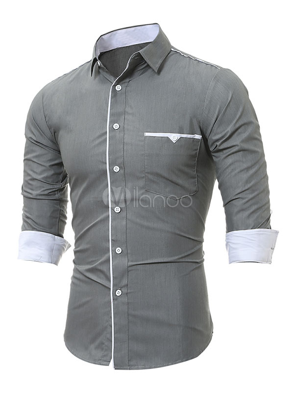 ... Royal Azul Casual Camisa 2019 Solapa con Manga Larga Regular Ajustado  de Algodón Camisas para Hombre ... 1c7d667cf2b