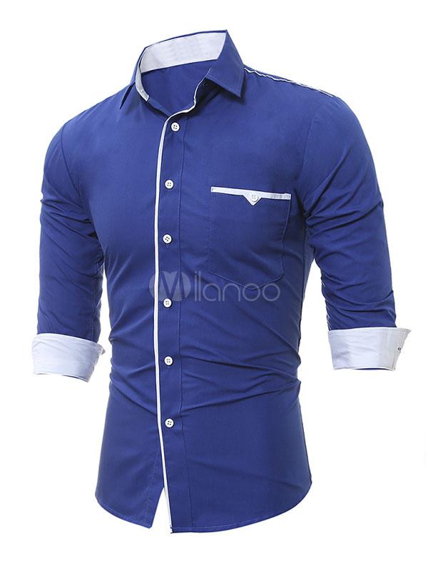 Royal Azul Casual Camisa 2019 Solapa con Manga Larga Regular Ajustado de  Algodón Camisas para Hombre ... 9a4d40cbf42