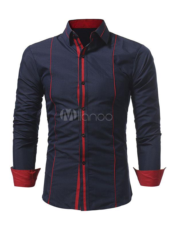 Men Casual Shirt Dark Navy Turndown Collar Long Sleeve Cotton Shirt