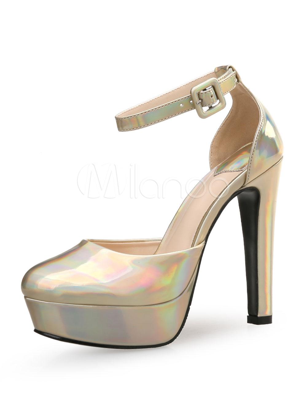 0020e6f2 Zapatos de tacón de puntera redonda de PU Color liso de tacón gordo