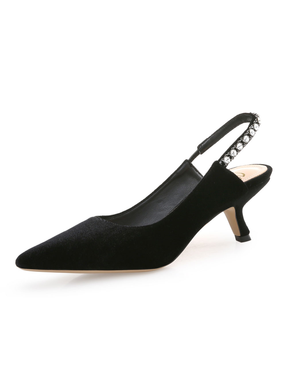 Buy Black Pump Shoes Pointed Toe Rhinestones Slingbacks Slip On Kitten Heels For Women for $36.89 in Milanoo store